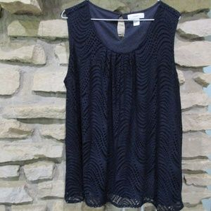 Navy Blue 2X Lined Lacey Sleeveless Top CJ Banks